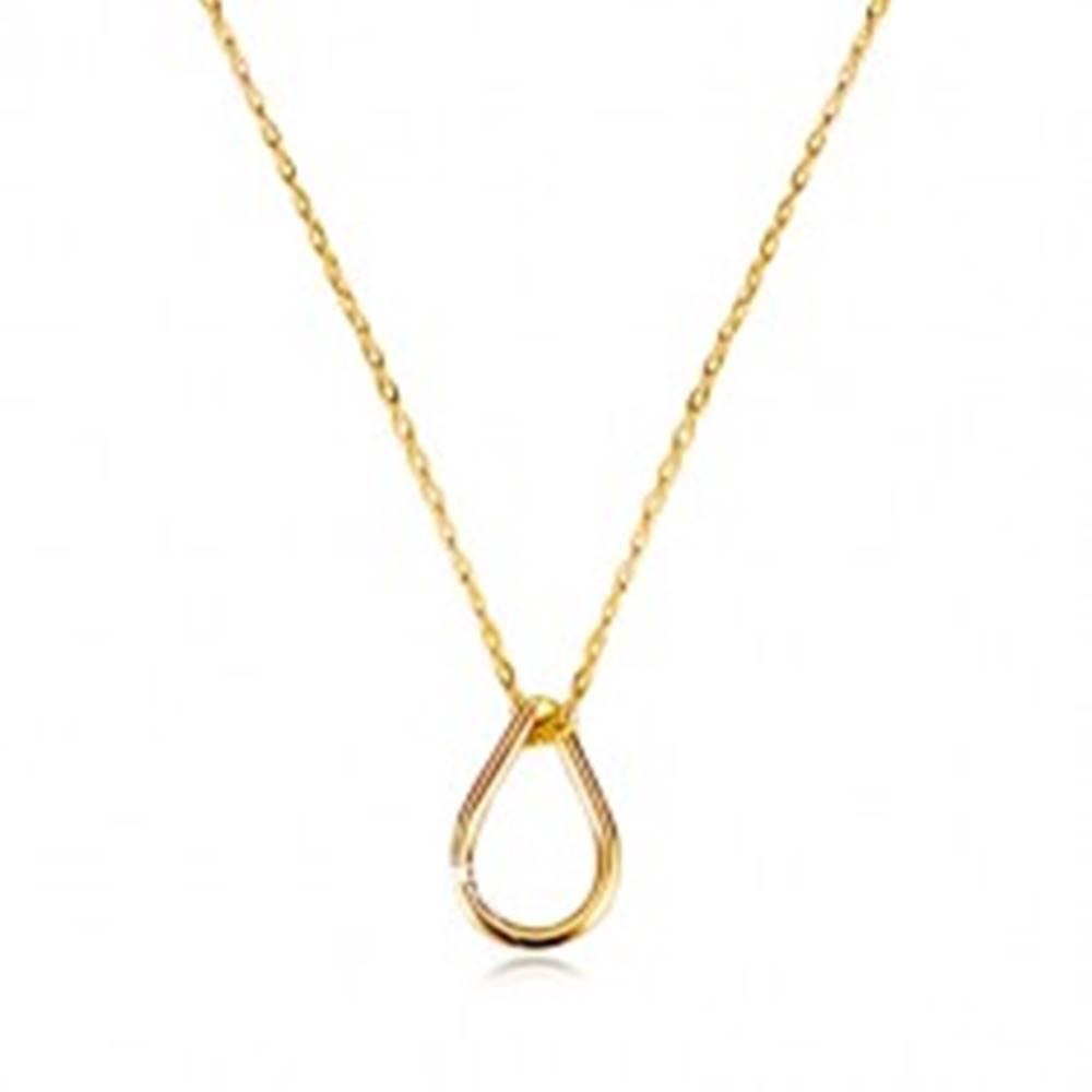 Šperky eshop Náhrdelník v žltom 14K zlate - jemná retiazka, lesklá kontúra kvapky