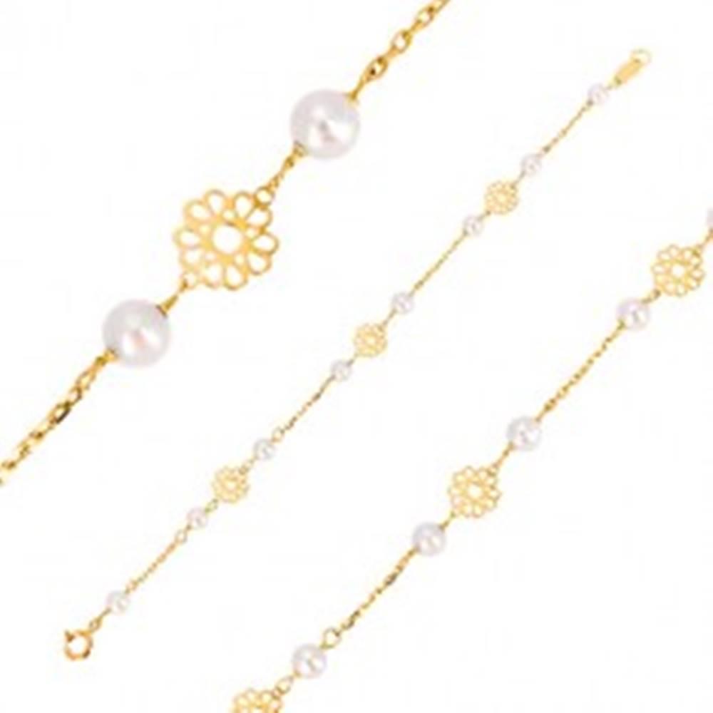 Šperky eshop Náramok v žltom zlate 585 - ornamentálne vyrezávané kvietky, perly
