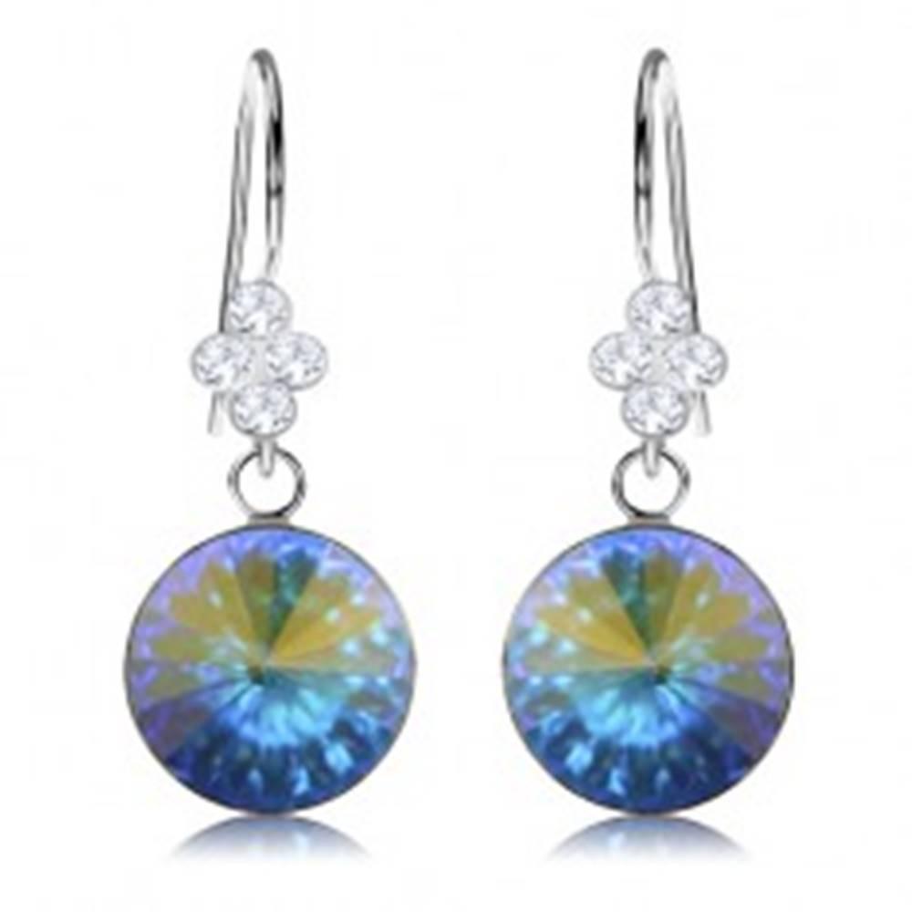 Šperky eshop Náušnice, striebro 925, Swarovski krištáľ - odlesky modrej a zlatej farby, 11 mm
