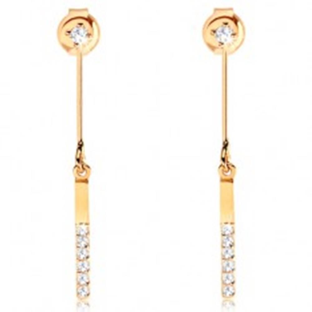 Šperky eshop Náušnice v 14K zlate - číry zirkónik, tenká palička s visiacim úzkym obdĺžnikom