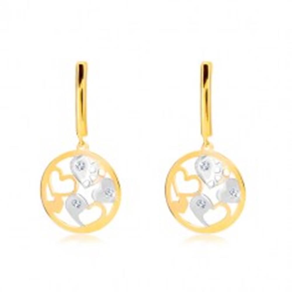 Šperky eshop Náušnice v 14K zlate - úzky pás, kruh s dvojfarebnými srdiečkami, zirkóny
