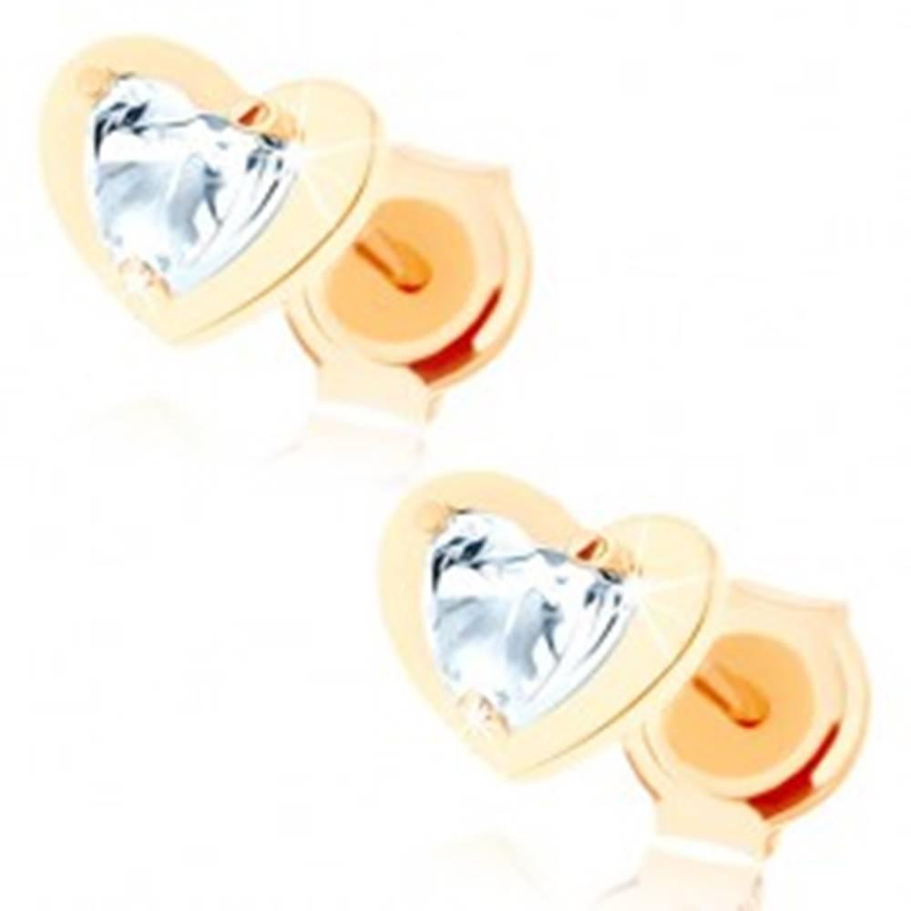 Šperky eshop Náušnice v žltom 14K zlate - číre zirkónové srdiečko v lesklom obryse srdca
