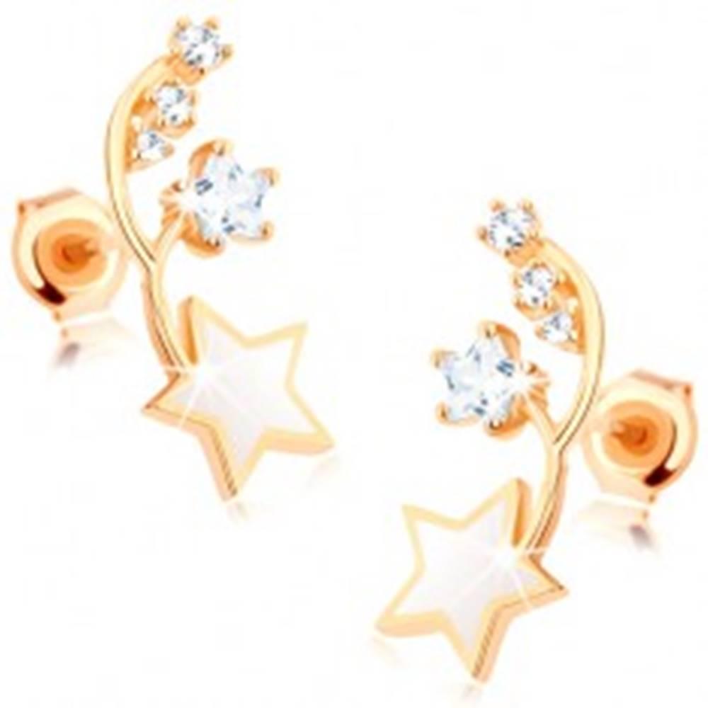 Šperky eshop Náušnice v žltom 14K zlate - dva tenké oblúčiky, biela a zirkónová hviezdička