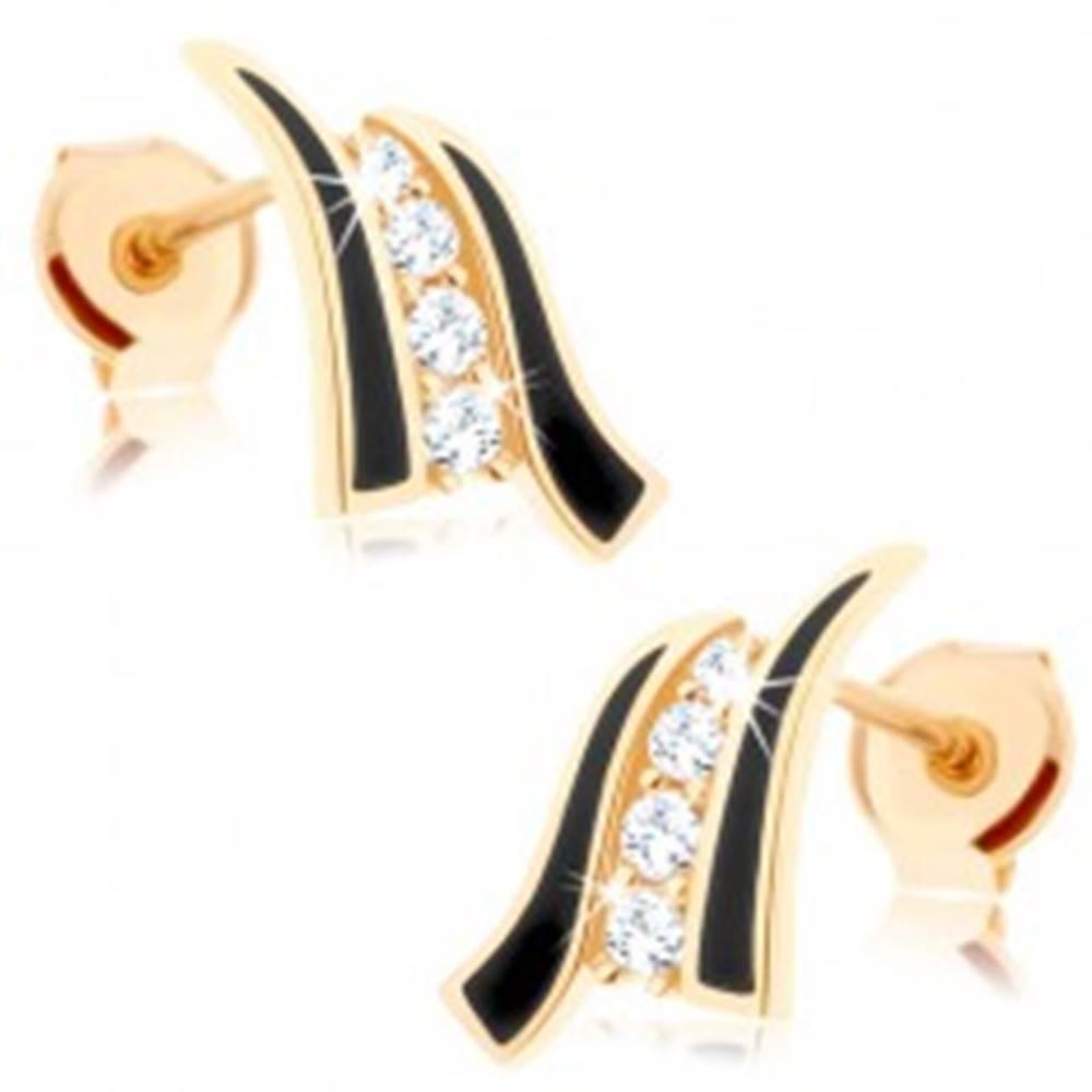 Šperky eshop Náušnice v žltom 14K zlate - dve čierne vlnky, línia čírych zirkónov