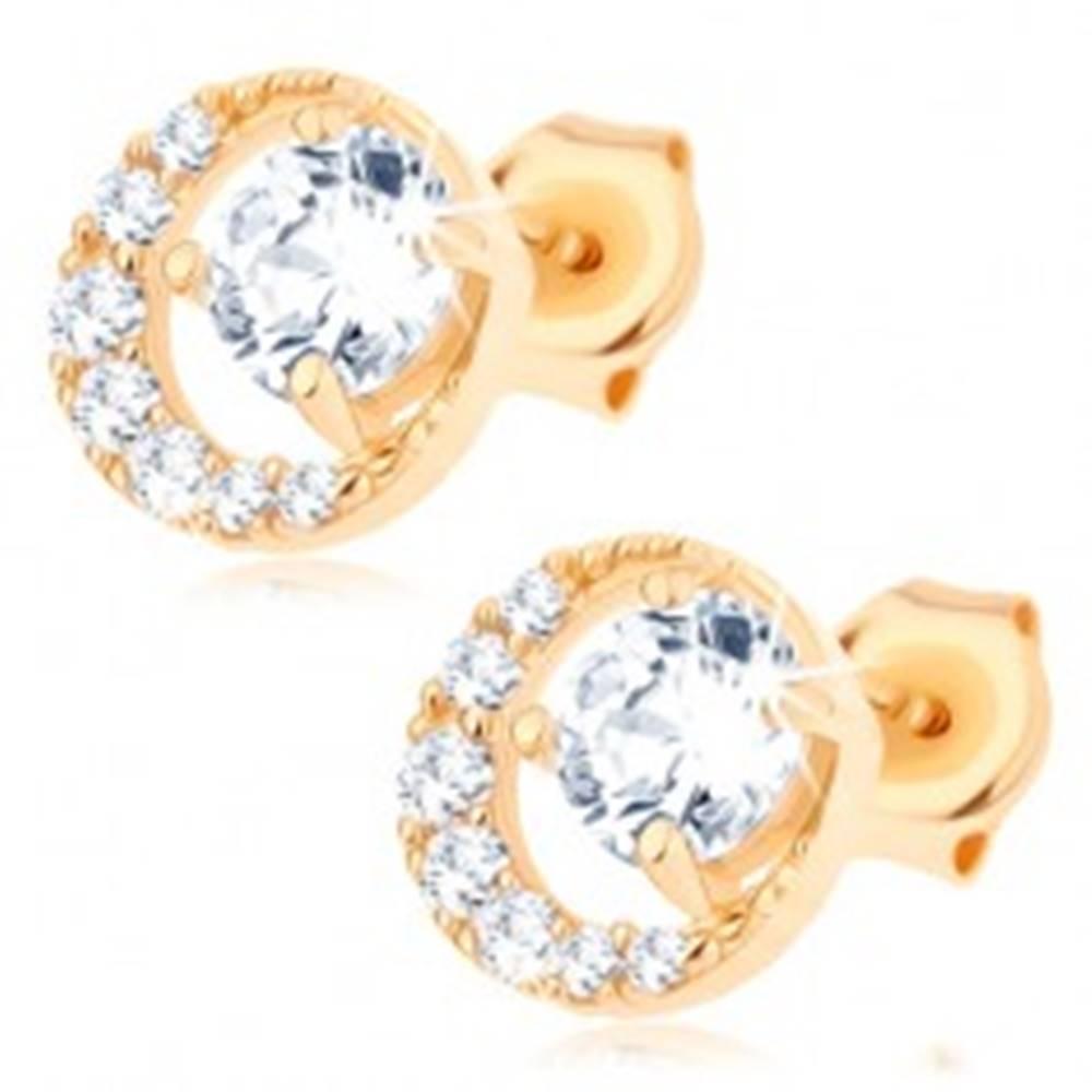 Šperky eshop Náušnice v žltom 14K zlate - okrúhly číry zirkón v trblietavej kontúre kruhu