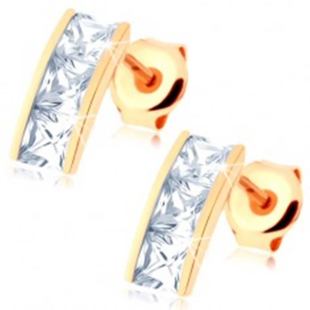 Šperky eshop Náušnice v žltom 14K zlate - širší pásik vykladaný štvorcovými zirkónmi čírej farby