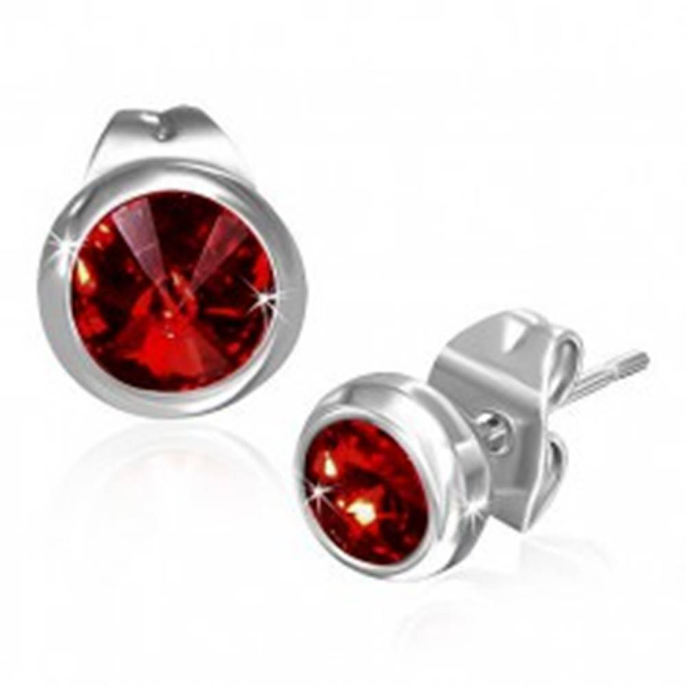 Šperky eshop Náušnice z ocele 316L, puzetky, okrúhly ligotavý zirkón červenej farby