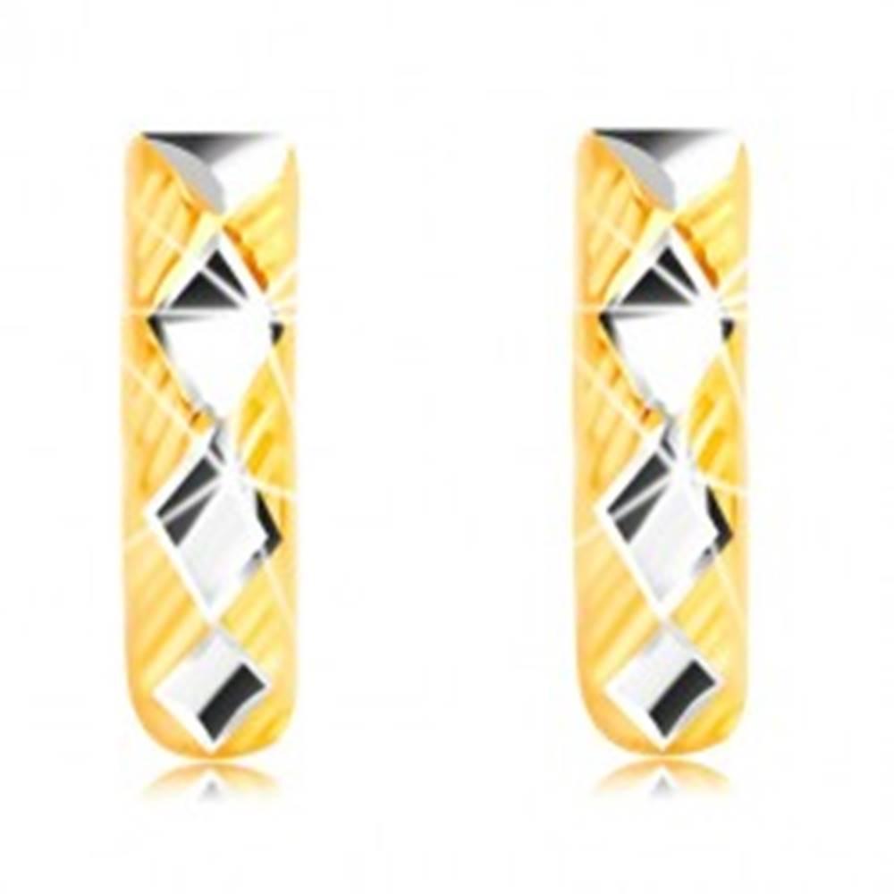 Šperky eshop Náušnice zo 14K zlata - lesklé kosoštvorce v bielom zlate, trojuholníky s líniami
