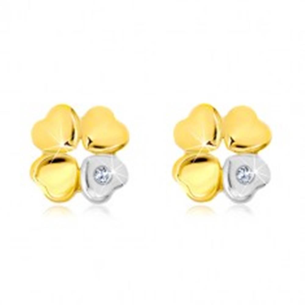 Šperky eshop Náušnice zo 14K zlata - štvorlístok pre šťastie, srdiečko so zirkónom