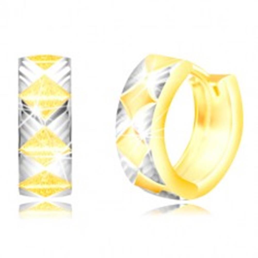 Šperky eshop Náušnice zo zlata 585 - matné kosoštvorce, trojuholníky v bielom zlate