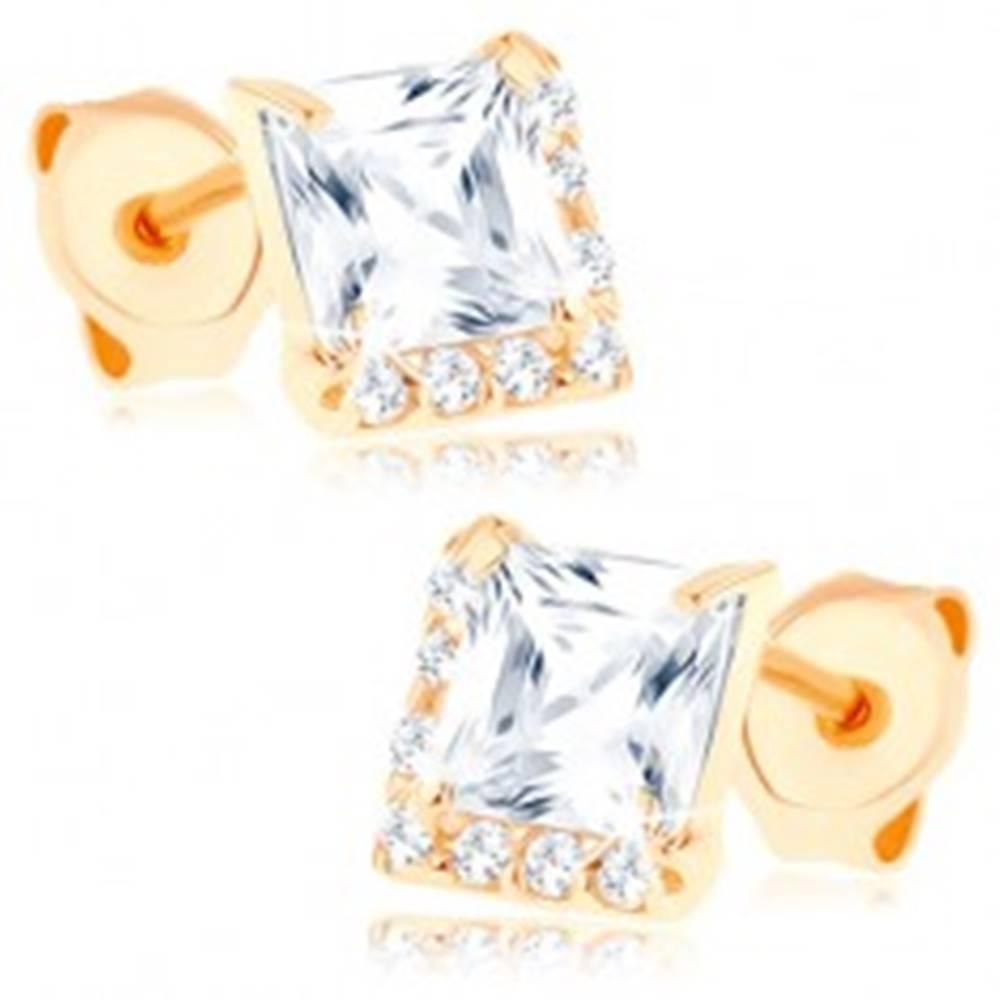 Šperky eshop Náušnice zo žltého 14K zlata - číry štvorcový zirkón, drobné zirkóniky
