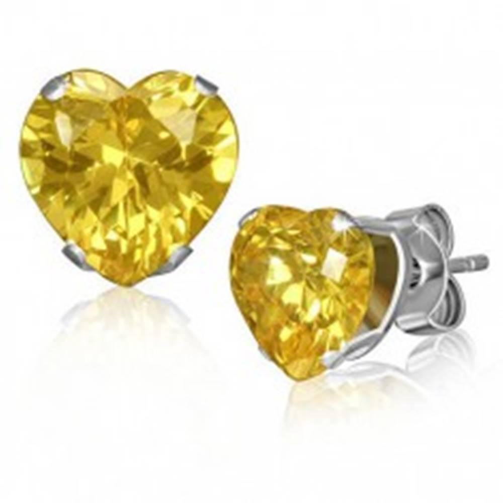 Šperky eshop Oceľové náušnice, drobné srdiečko, žltý zirkón, puzetové zapínanie