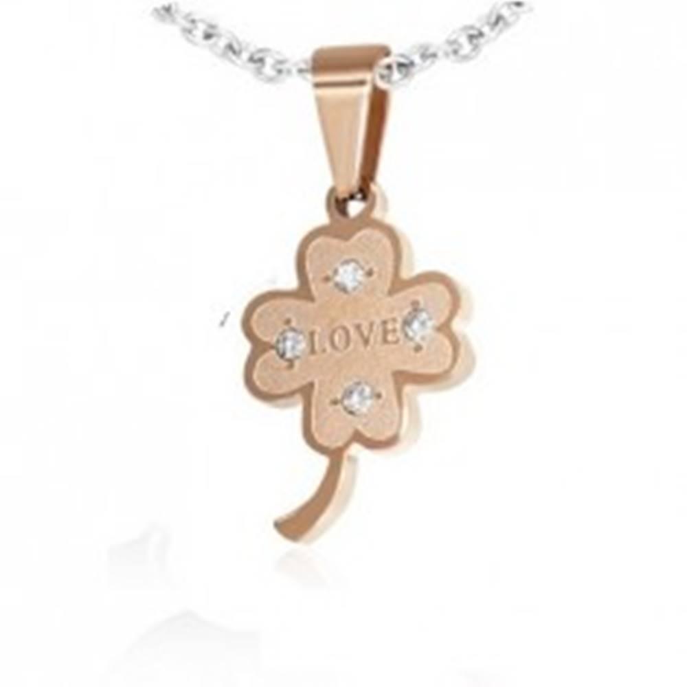 Šperky eshop Oceľový prívesok - štvorlístok pre šťastie s romantickým nápisom
