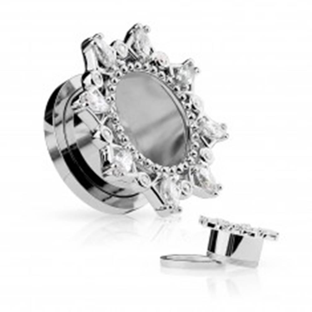 Šperky eshop Oceľový tunel do ucha - ornamentálne slnko s trblietavými zirkónmi - Priemer: 10 mm