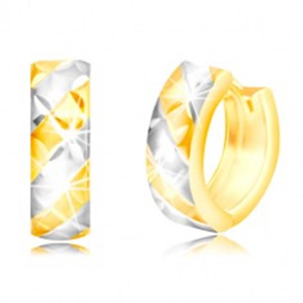 Šperky eshop Okrúhle náušnice v 14K zlate - matné dvojfarebné pásy a lesklá mriežka