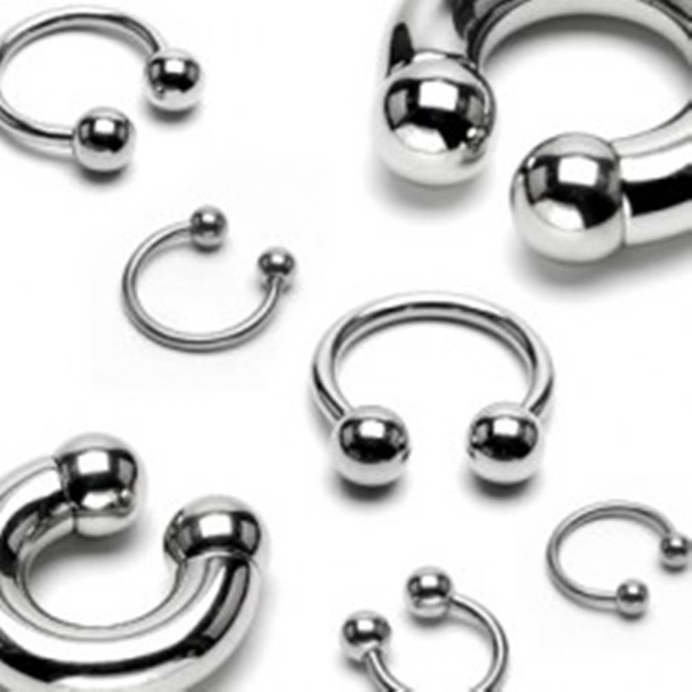 Šperky eshop Piercing z chirurgickej ocele - podkova s lesklým povrchom a guličkami, hrúbka 2 mm - Hrúbka x priemer x veľkosť guličky: 2 mm x 10 mm x 4 mm