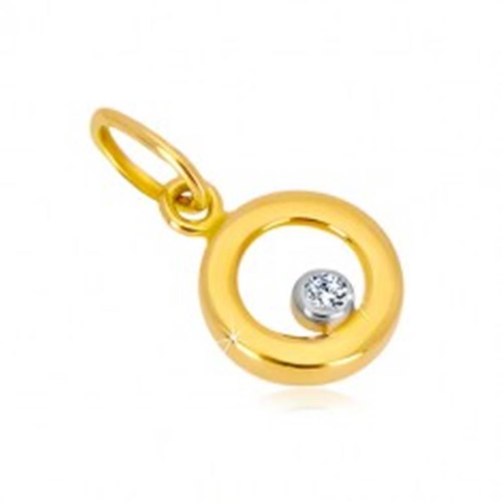 Šperky eshop Prívesok z kombinovaného zlata 585 - lesklý krúžok, číry zirkón v objímke