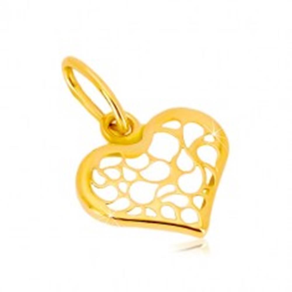 Šperky eshop Prívesok zo 14K žltého zlata - symetrické srdce zdobené filigránom