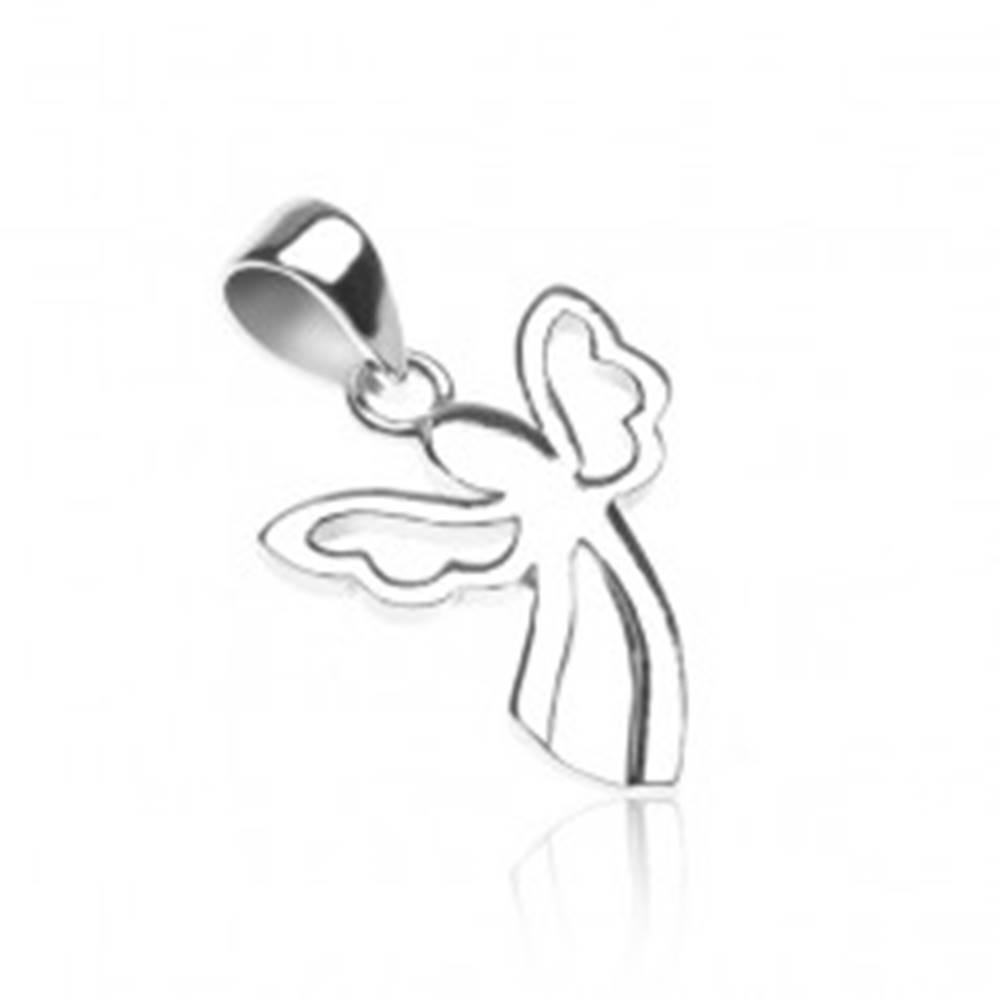 Šperky eshop Prívesok zo striebra 925 - anjelik s vykrojenými krídlami