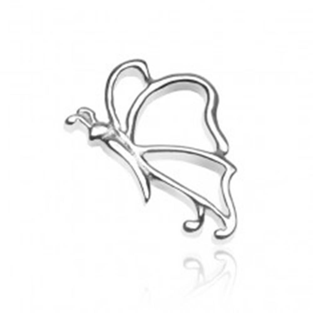Šperky eshop Prívesok zo striebra 925 - lesklý motýlik s tykadlami