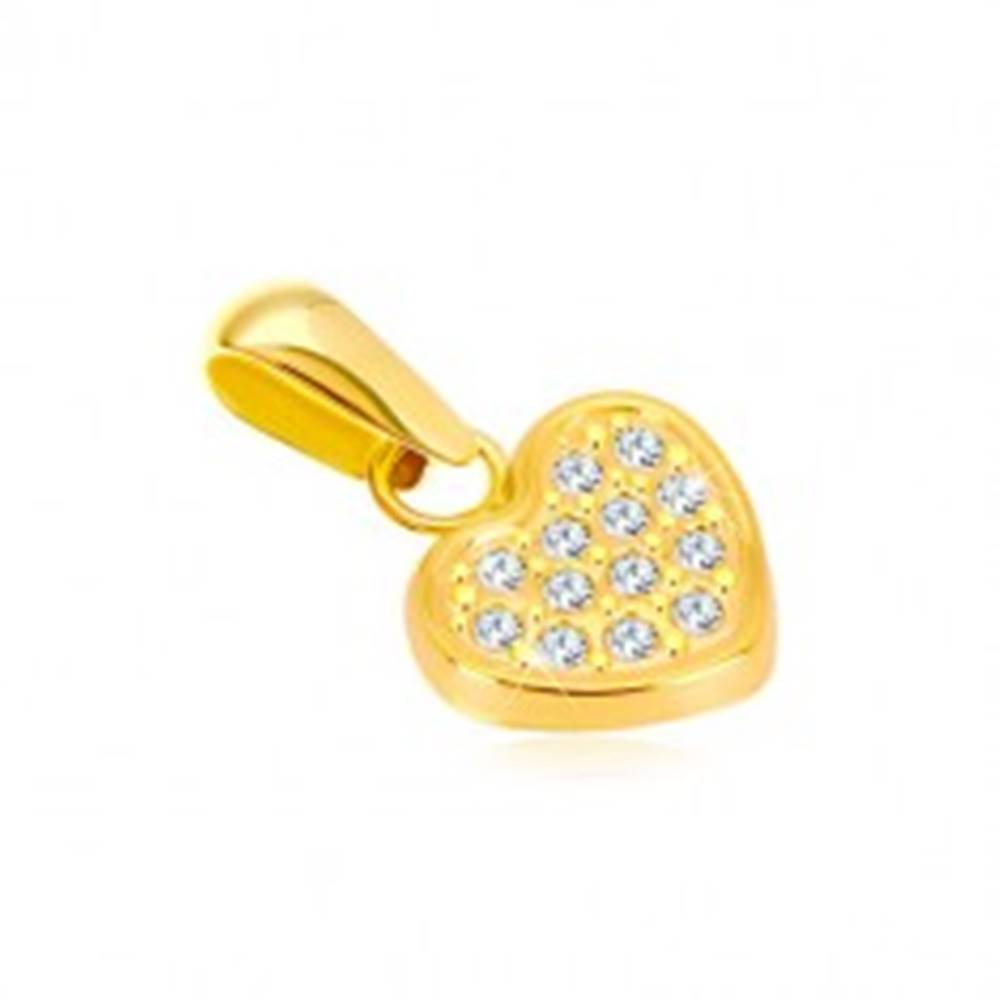 Šperky eshop Prívesok zo žltého 14K zlata - pravidelné srdiečko vykladané zirkónikmi