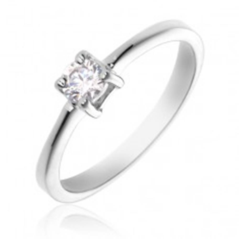 Šperky eshop Prsteň zo striebra 925 - okrúhly číry kameň, štyri úchyty - Veľkosť: 49 mm