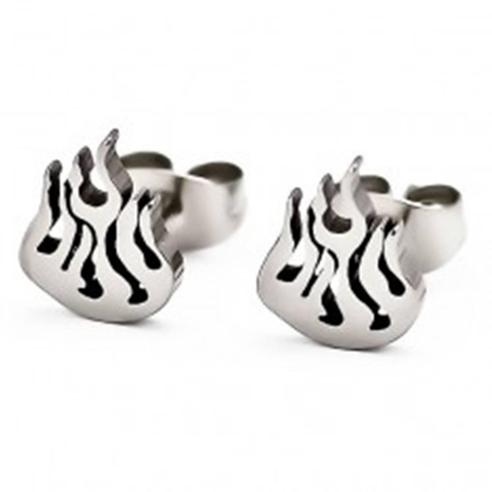 Šperky eshop Puzetové náušnice, oceľ 316L, strieborná farba, plamienok