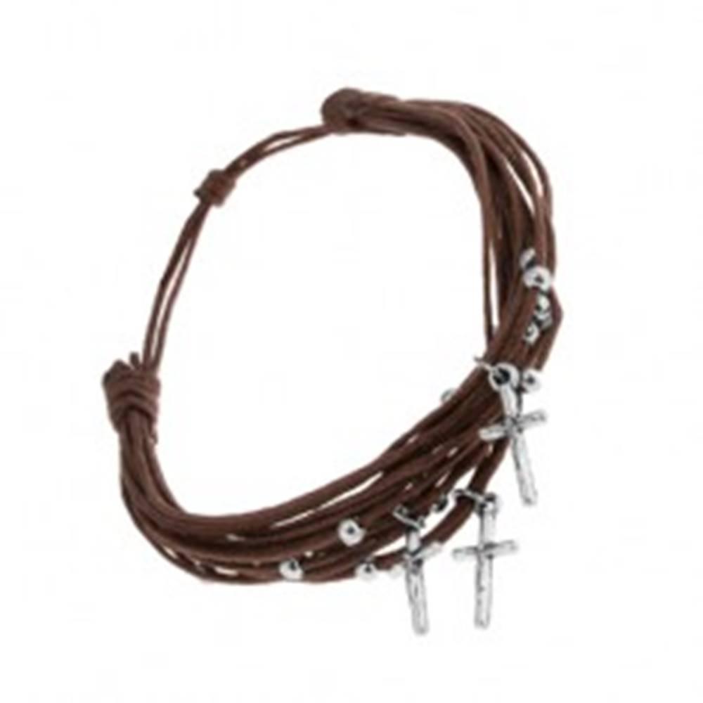 Šperky eshop Šnúrkový náramok čokoládovo hnedej farby, guličky a krížiky z ocele