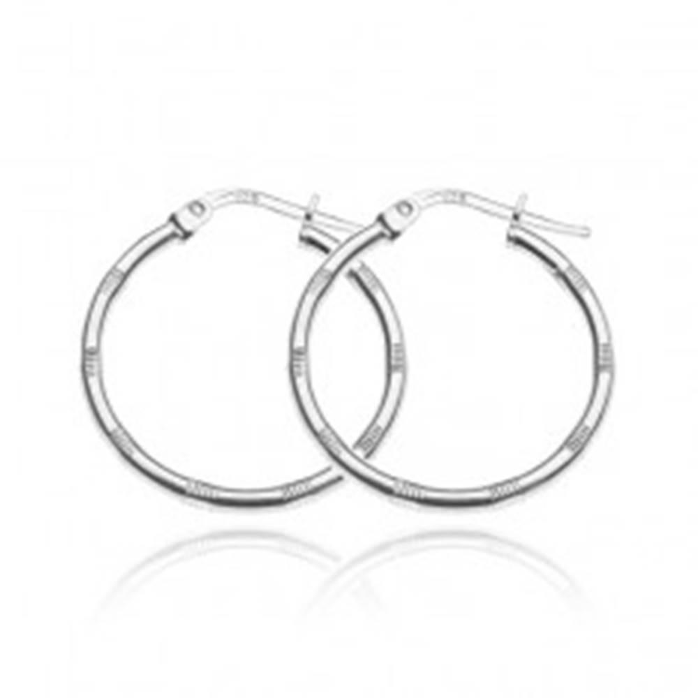 Šperky eshop Strieborné náušnice 925 - kruhy so skupinkami zárezov, 25 mm