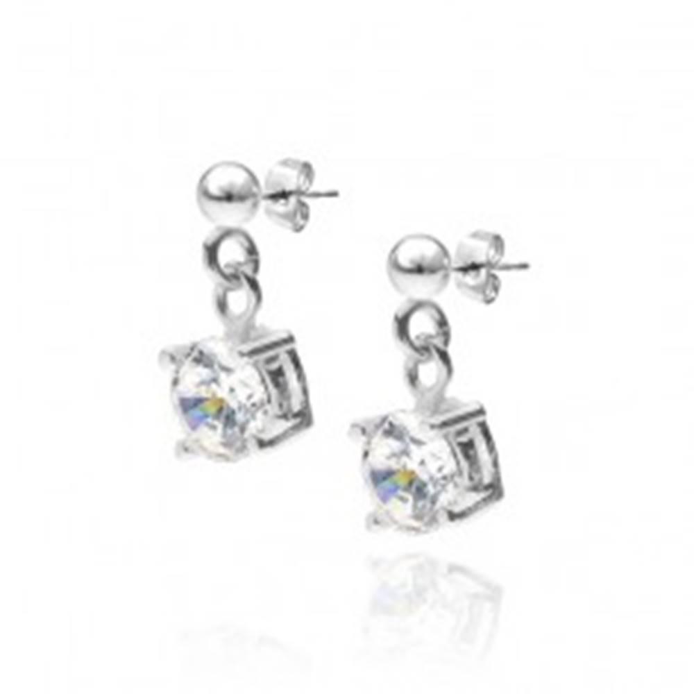 Šperky eshop Strieborné puzetové náušnice 925 - visiaci okrúhly číry kameň
