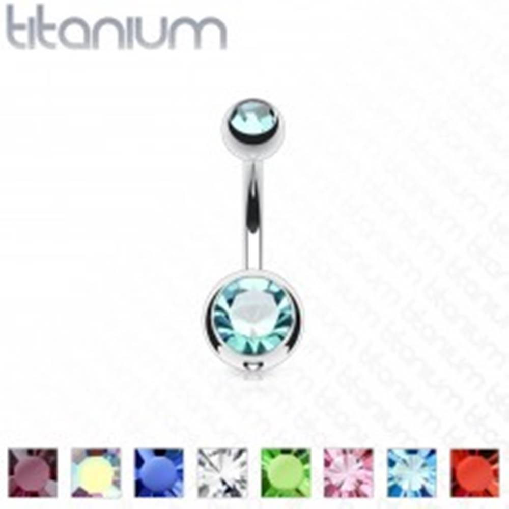 Šperky eshop Titánový piercing do pupka - guličky s trblietavými zirkónmi, dĺžka 12 mm - Farba zirkónu: Aqua modrá - Q