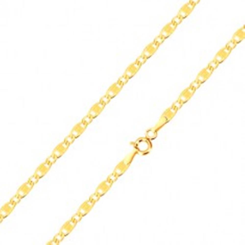 Šperky eshop Zlatá 14K retiazka - oválne a podlhovasté očko so zárezmi a obdĺžnikom, 450 mm