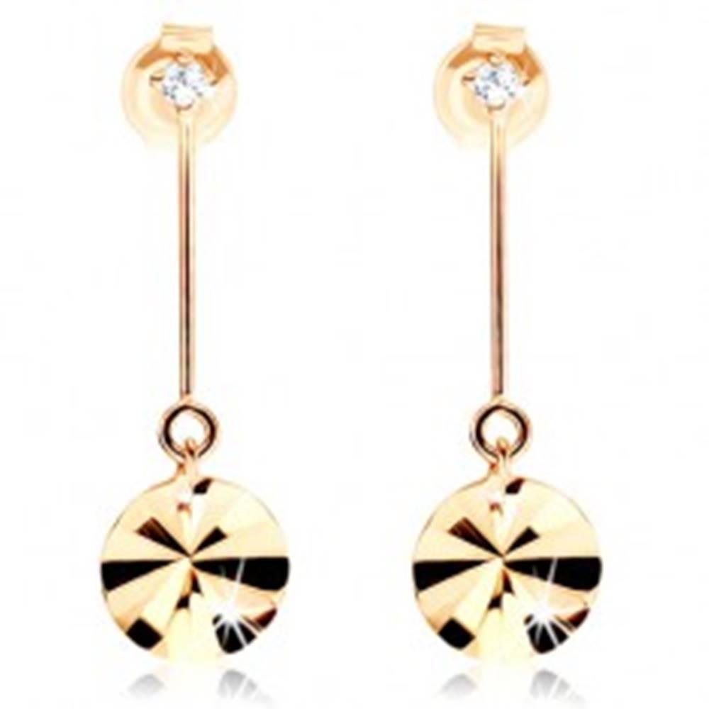 Šperky eshop Zlaté náušnice 585 - kruh visiaci na paličke, lúčovité ryhy, zirkón