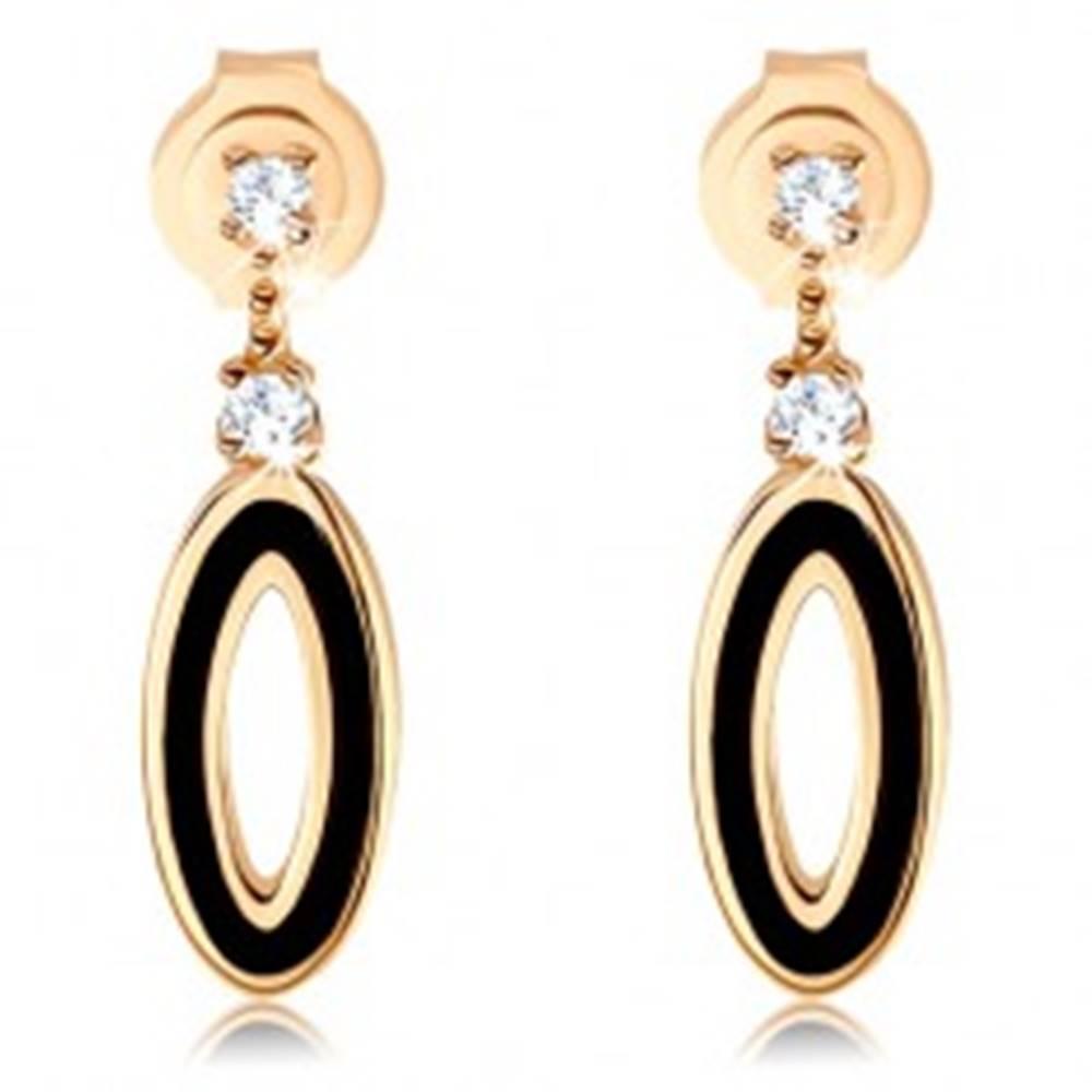 Šperky eshop Zlaté náušnice 585 - obrys oválu na krátkej paličke, čierna glazúra