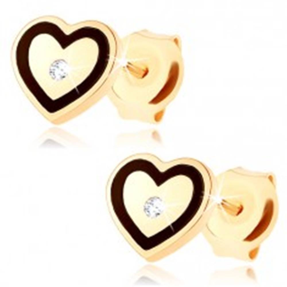 Šperky eshop Zlaté náušnice 585 - súmerné srdiečko, drobný zirkónik, obrys z čiernej glazúry