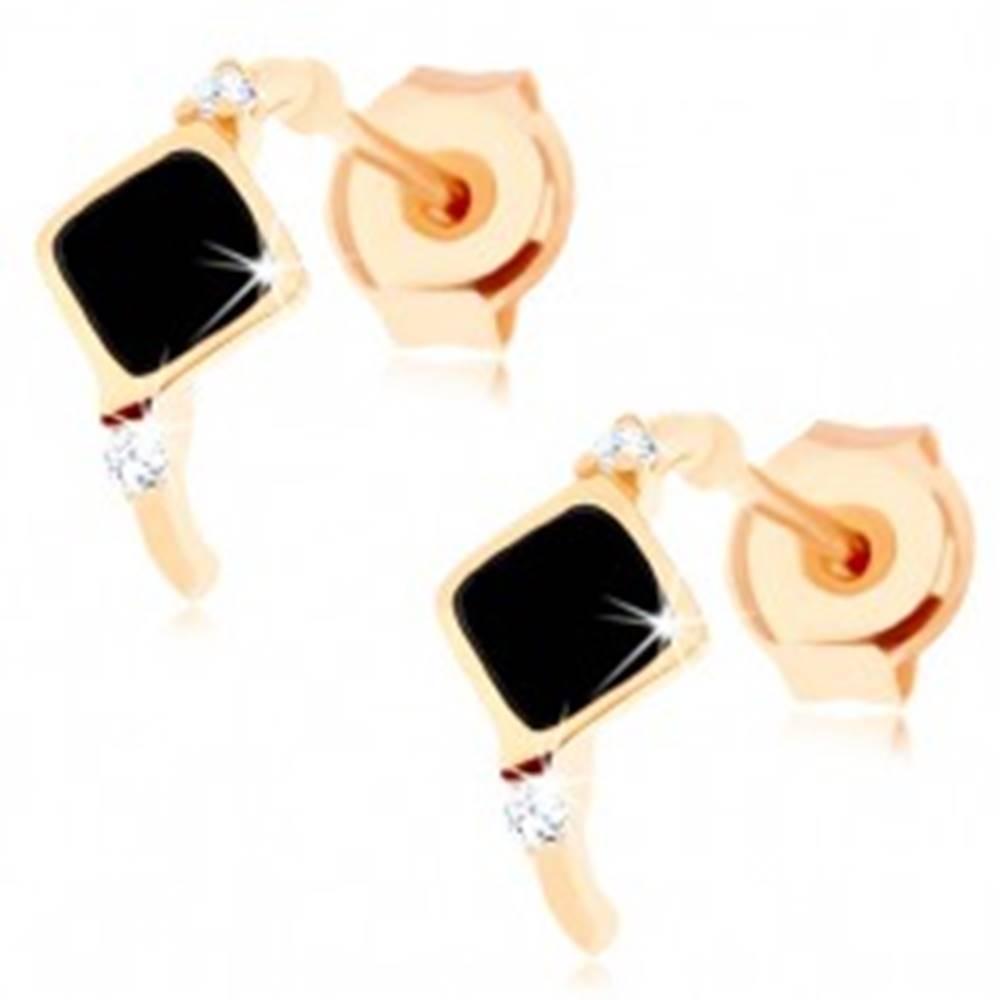 Šperky eshop Zlaté náušnice 585 - tenký oblúčik s čiernym kosoštvorcom, zirkóny