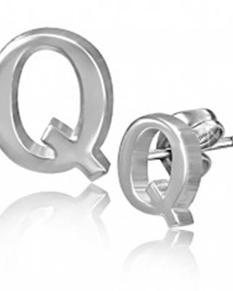 Šperky eshop Oceľové puzetové náušnice - hladké písmeno Q