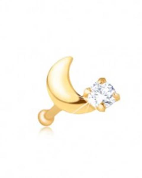 Šperky eshop Piercing do nosa v žltom 9K zlate - rovný, kosáčik mesiaca, zirkón