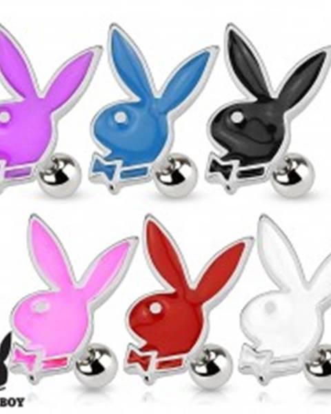 Šperky eshop Piercing do tragusu, oceľ 316L, Playboy zajačik zdobený farebnou glazúrou - Farba piercing: Biela