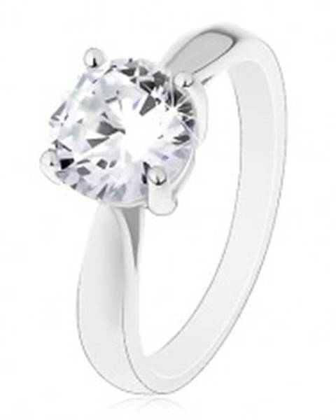 Šperky eshop Zásnubný prsteň - striebro 925, lesklé zaoblené ramená, veľký číry zirkón - Veľkosť: 50 mm