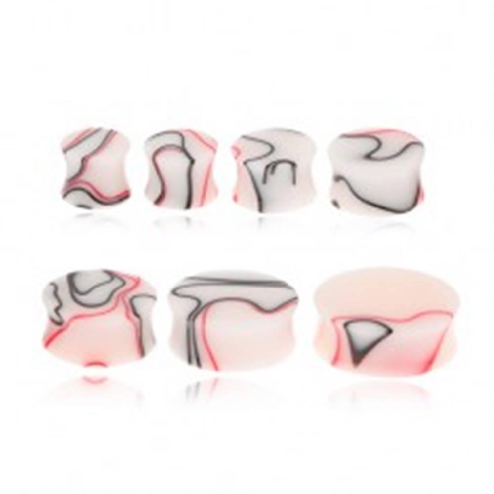 Šperky eshop Akrylový plug do ucha s červeno-čiernym mramorovým vzorom - Hrúbka: 11 mm