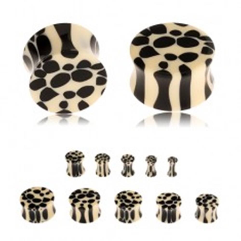 Šperky eshop Akrylový sedlový plug do ucha, béžovo-čierny leopardí vzor - Hrúbka: 10 mm