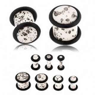 Akrylový plug do ucha, povrch bielej farby s čiernymi fliačikmi, čierne gumičky - Hrúbka: 10 mm