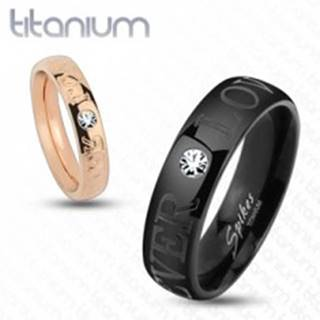 Čierna obrúčka z titánu, ligotavý číry zirkónik, nápis FOREVER LOVE, 6 mm - Veľkosť: 59 mm