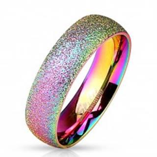 Dúhový prsteň z ocele 316L s trblietavým povrchom, 6 mm - Veľkosť: 49 mm