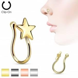 Fake piercing do nosa z ocele 316L, lesklá päťcípa hviezdička - Farba: Hematitová