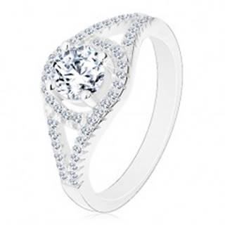 Ligotavý zásnubný prsteň, striebro 925, rozdvojené ramená, kruh so zirkónom - Veľkosť: 49 mm