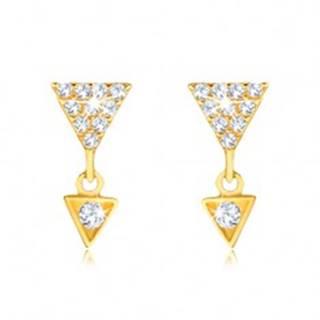 Náušnice v žltom 9K zlate - väčší a menší zirkónový trojuholník