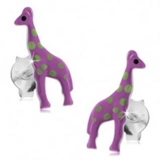 Náušnice zo striebra 925, fialová žirafa so svetlozelenými škvrnami