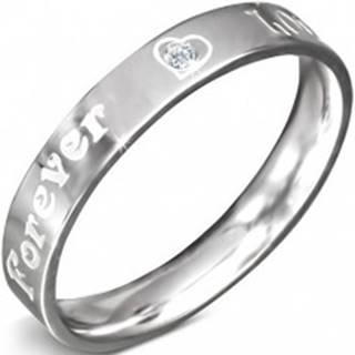 Obrúčka z nerezovej ocele - nápis FOREVER LOVE a zirkón, 3 mm - Veľkosť: 49 mm